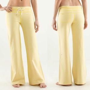 Lululemon Yellow Sizzle Voyage Wide Leg Sweatpants